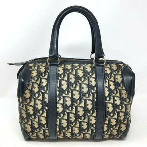 Auth Christian Dior Oblique Saddle Navy Boston Bag